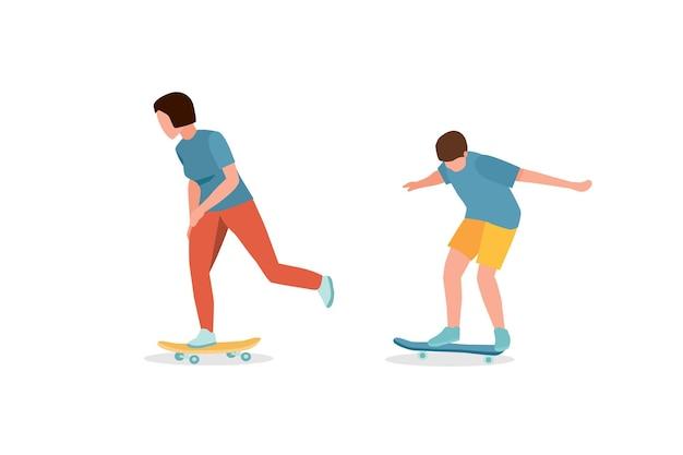 Adolescents sur des amis de planches à roulettes équilibrant et patinant