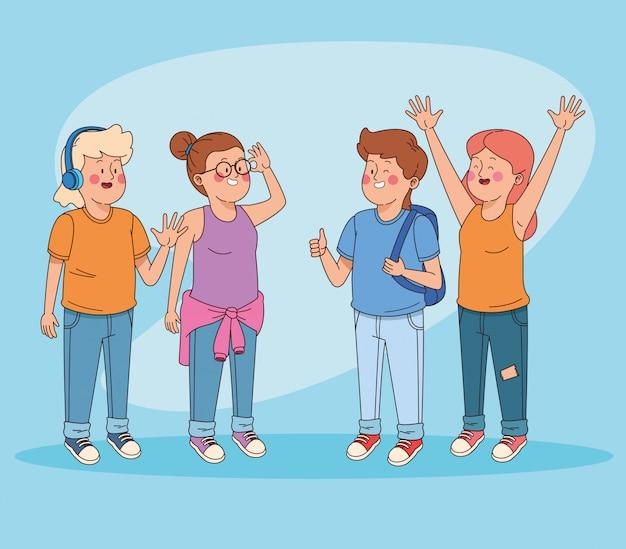 Adolescents amis s'amusant des dessins animés