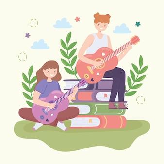Adolescents apprenant la guitare