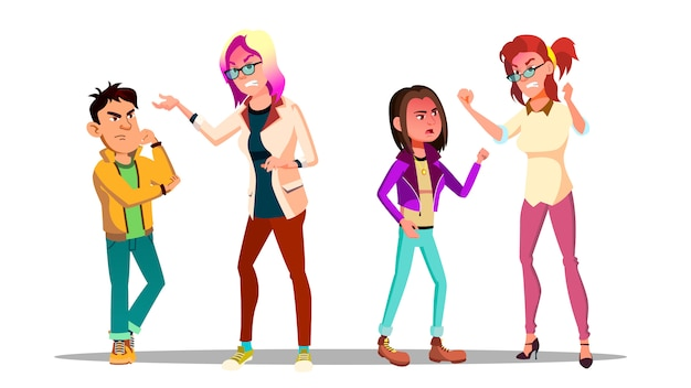 Adolescents discutant avec des personnages de dessins animés adultes