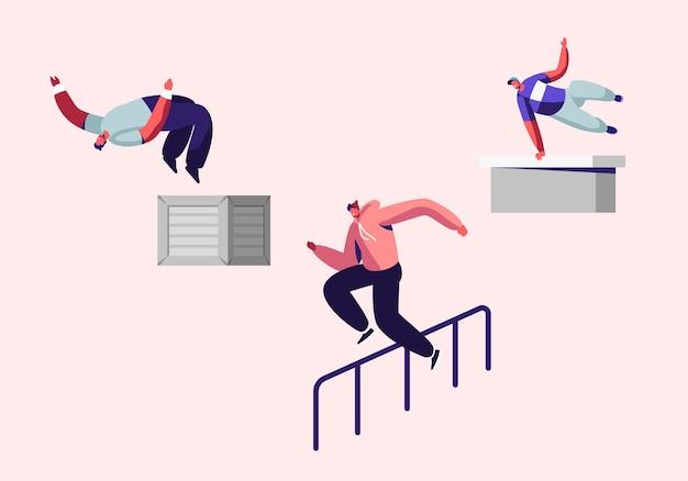 Adolescents faisant des tours extrêmes sur la rue, parkour sport en ville. jeunes hommes sautant par-dessus les murs et les barrières, sports urbains