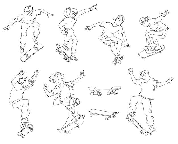 Adolescents faisant des tours de planche à roulettes - ensemble de dessin d'art en ligne noir et blanc. adolescents sautant et faisant des cascades -