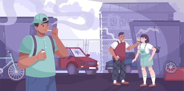 Les adolescents fument une composition à plat avec des paysages de quartier privé et des personnages d'adolescents fumant des cigarettes sur l'illustration de la ruelle