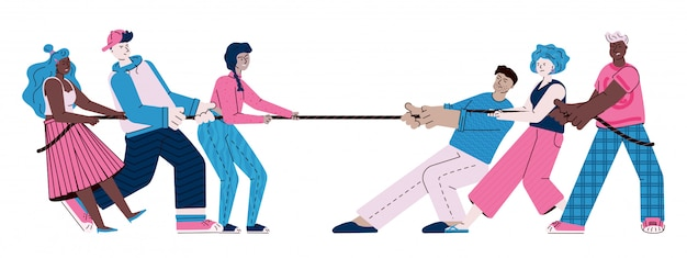 Adolescents jouant à la corde - deux équipes de jeunes gens de dessin animé