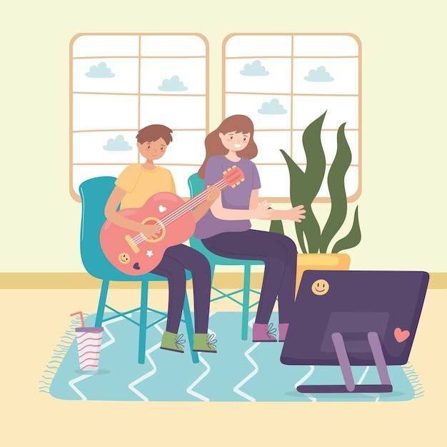 Adolescents jouant de la guitare
