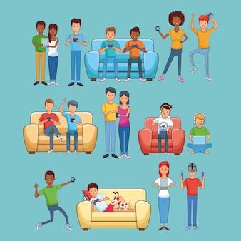 Adolescents jouant à des jeux vidéo