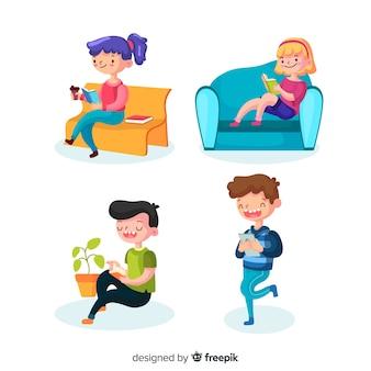 Adolescents lisant dans des endroits différents