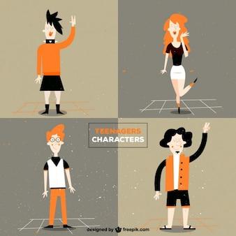Adolescents personnages dans un style vintage