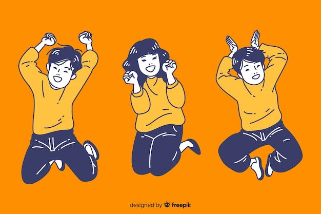 Adolescents sautant dans un style de dessin coréen