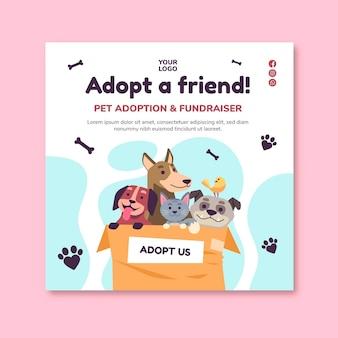 Adopter un modèle de flyer carré pour animaux de compagnie