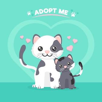 Adoptez un concept d'animal de compagnie avec des chats mignons