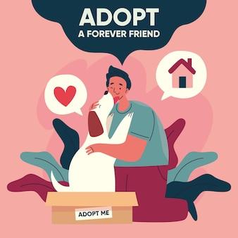 Adoptez un concept pour animaux de compagnie avec homme et chien