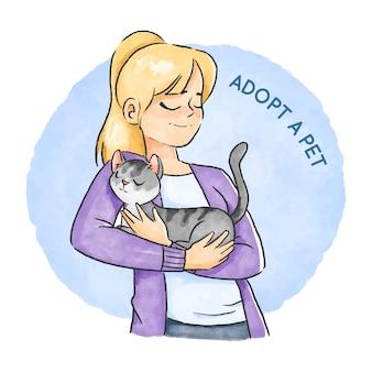 Adoptez un design dessiné à la main pour animaux de compagnie