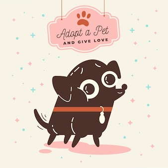 Adoptez une illustration pour animaux de compagnie avec un chien