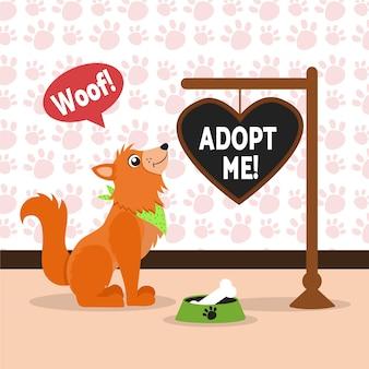 Adoptez un message de concept d'animal de compagnie avec un chien illustré