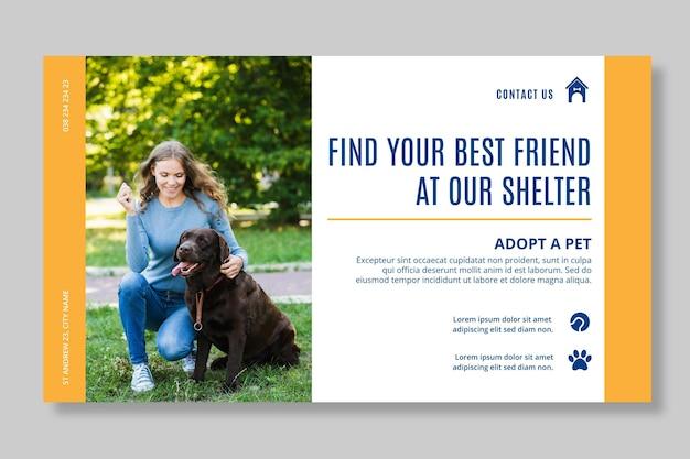 Adoptez un modèle de bannière horizontale pour animaux de compagnie