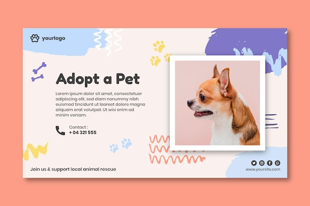 Adoptez un modèle de bannière pour animaux de compagnie avec photo