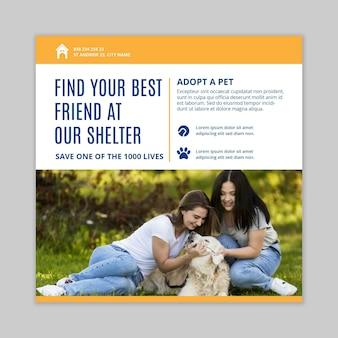Adoptez un modèle de flyer carré pour animaux de compagnie