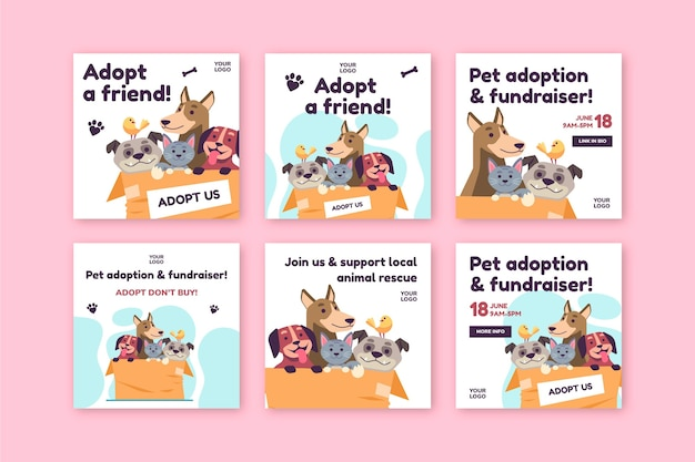Adoptez un modèle de message instagram pour animaux de compagnie