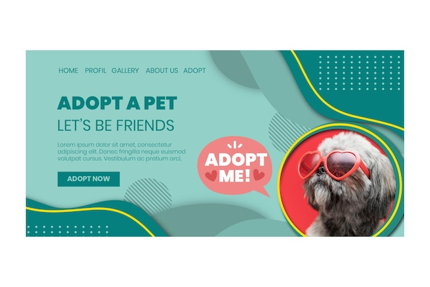 Adoptez une page de destination pour animaux de compagnie avec photo