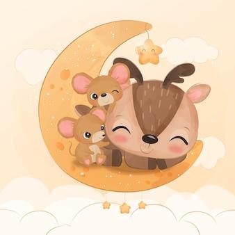 Adorable amitié de bébé renne et souris en illustration à l'aquarelle