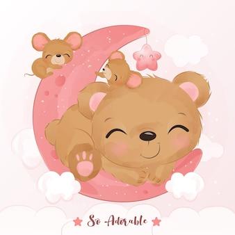 Adorable amitié de souris et d'ours en illustration à l'aquarelle