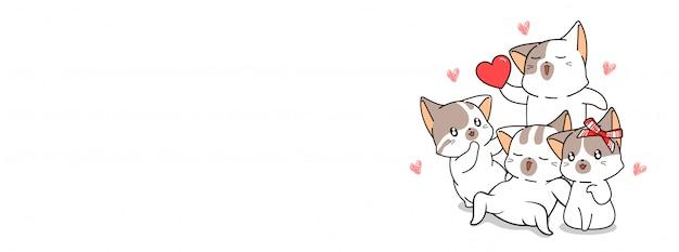 Adorable bannière d'illustration de chat de famille
