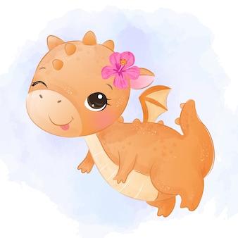 Adorable bébé dragon aquarelle