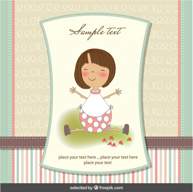 Adorable bébé fille carte de douche dans des couleurs pastel