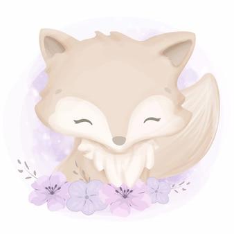Adorable bébé renard avec des fleurs