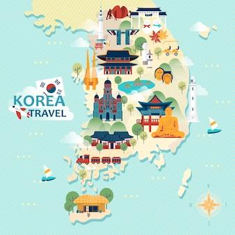 Adorable carte de voyage en corée du sud avec des attractions colorées