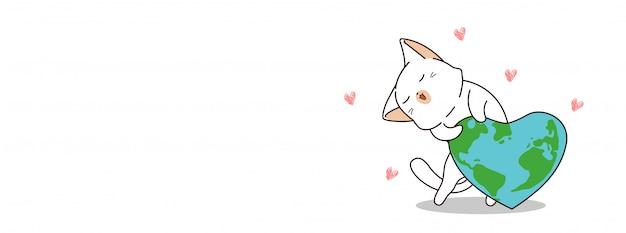 Adorable chat aime la terre le jour de la terre mère