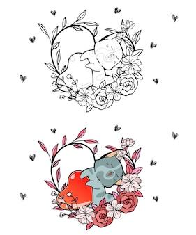 Adorable chat et coeur à l'intérieur de la page de coloriage de dessin animé de vigne de coeur