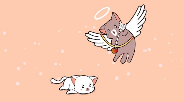 Adorable chat cupidon tire une flèche vers un autre