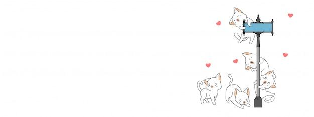 Adorable chat et illustration d'amis