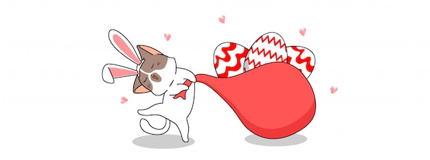 Adorable chat lapin au festival du jour de pâques