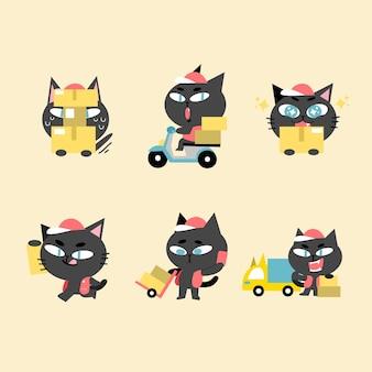 Adorable chat de livraison le vendredi noir vente illustration de doodle