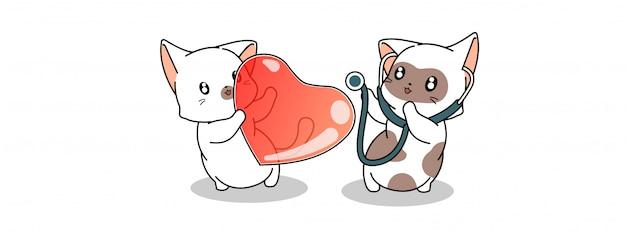 Adorable chat médecin diagnostique le cœur