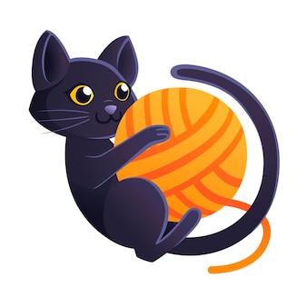 Adorable chat noir mignon jouant avec une boule orange de laine dessin animé animal design plat illustration vectorielle sur fond blanc.