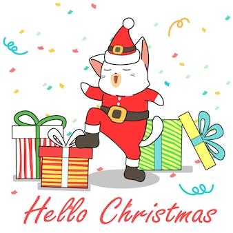 Adorable chat santa et cadeaux style cartoon
