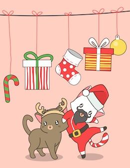 Adorable chat santa et chat de rennes au jour de noël