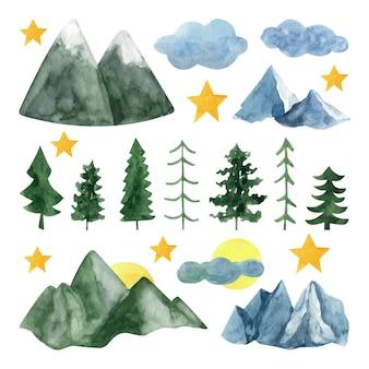 Adorable clipart de montagne et d'arbres à l'aquarelle peint à la main.