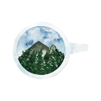 Adorable clipart de montagne et d'arbres aquarelle peints à la main dans une tasse.