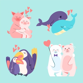 Adorable collection de couples d'animaux de la saint-valentin