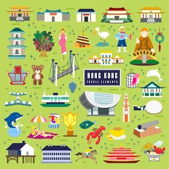 Adorable collection d'éléments de voyage à hong kong au design plat