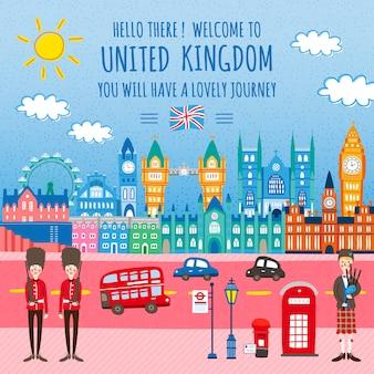 Adorable conception d'affiche de voyage au royaume-uni avec des paysages de rue