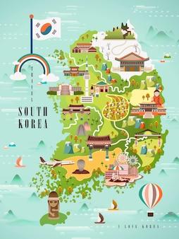Adorable conception de carte de voyage en corée du sud dans un style plat