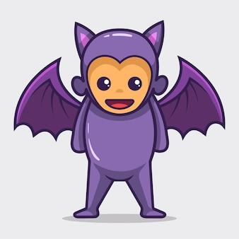 Adorable costume de mascotte d'halloween chauve-souris