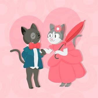 Adorable couple d'animaux de la saint-valentin