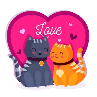Adorable couple de chats pour la saint-valentin